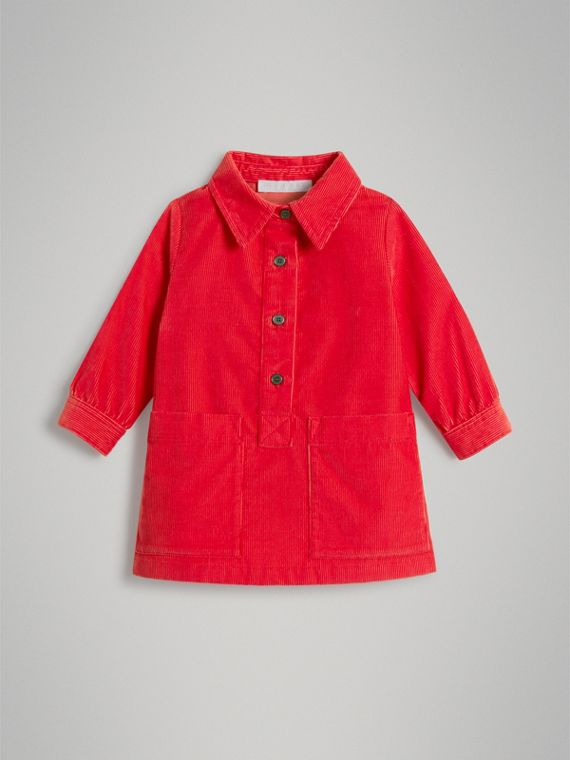 Corduroy Shirt Dress in Bright Orange Red