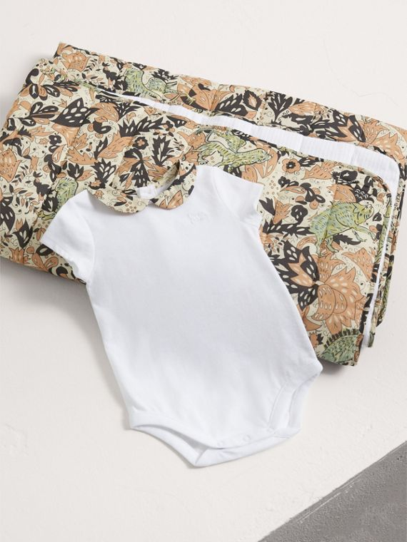 Beasts Print Cotton Two-piece Baby Gift Set | Burberry Australia