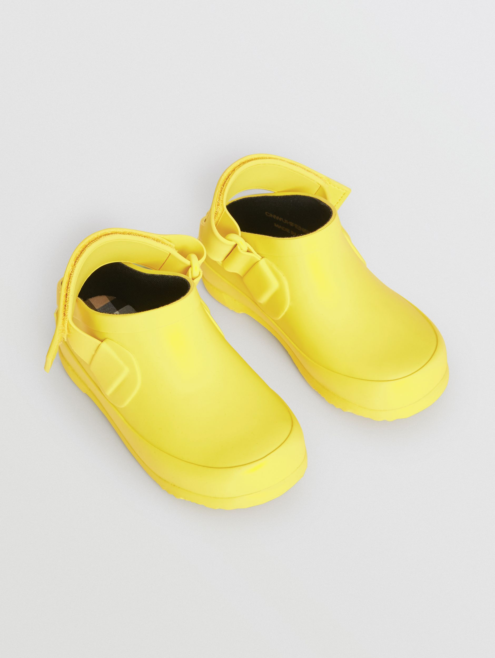 Check Detail Rubber Sandals in Citron - Children | Burberry - 1