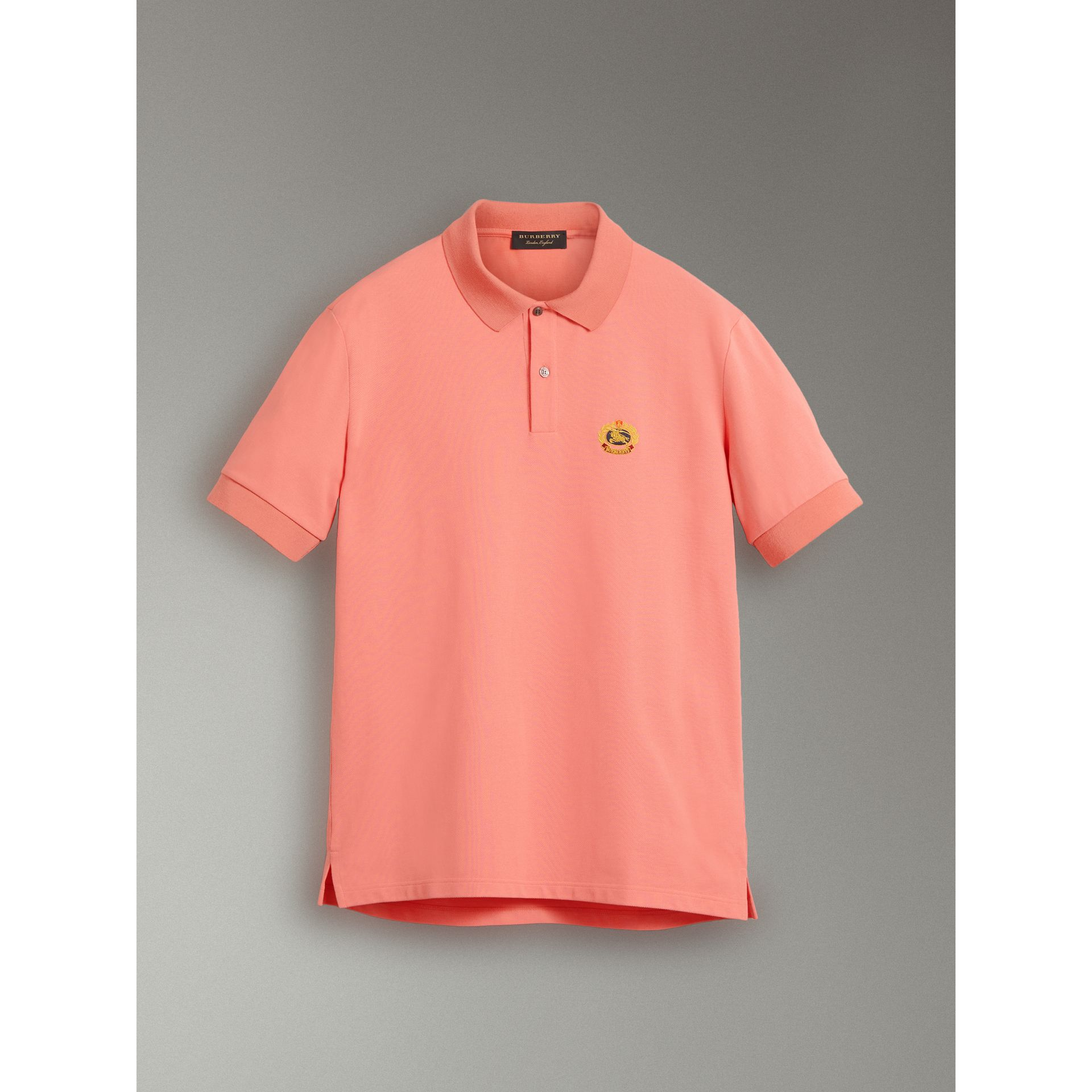 Reissued Cotton Polo Shirt in Coral - Women | Burberry - gallery image 3