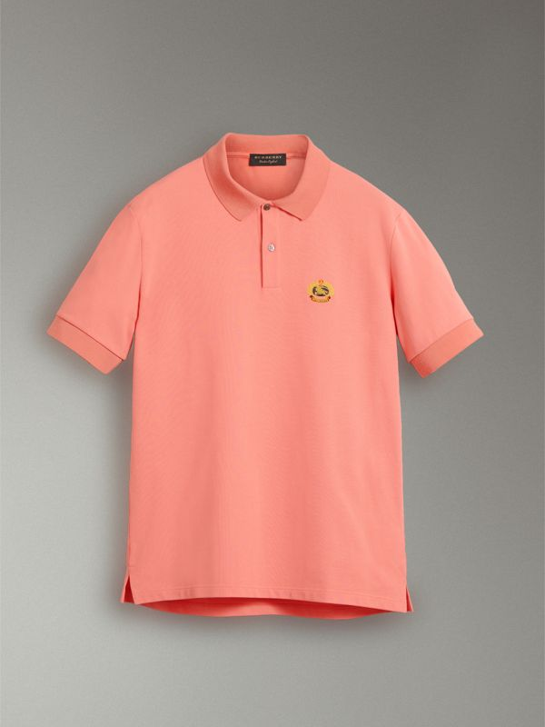 Reissued Cotton Polo Shirt in Coral - Women | Burberry - cell image 3