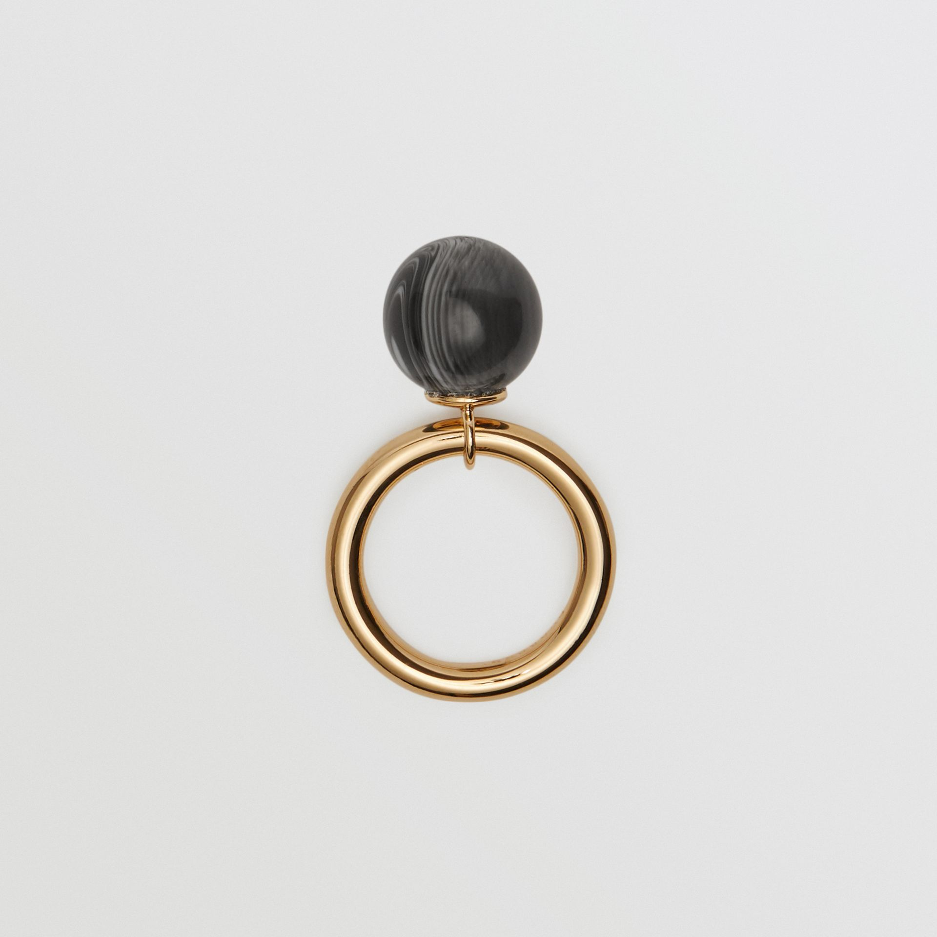Marbled Resin Gold-plated Ring in Light Gold/midnight - Women | Burberry - gallery image 0