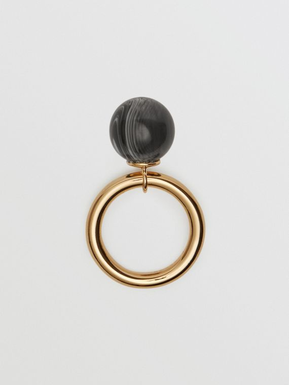 Marbled Resin Gold-plated Ring in Light Gold/midnight