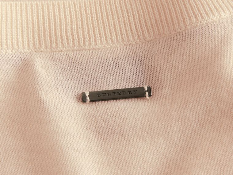 Cashmere Sweater with Frill Sleeves in Natural White - Women | Burberry - cell image 1
