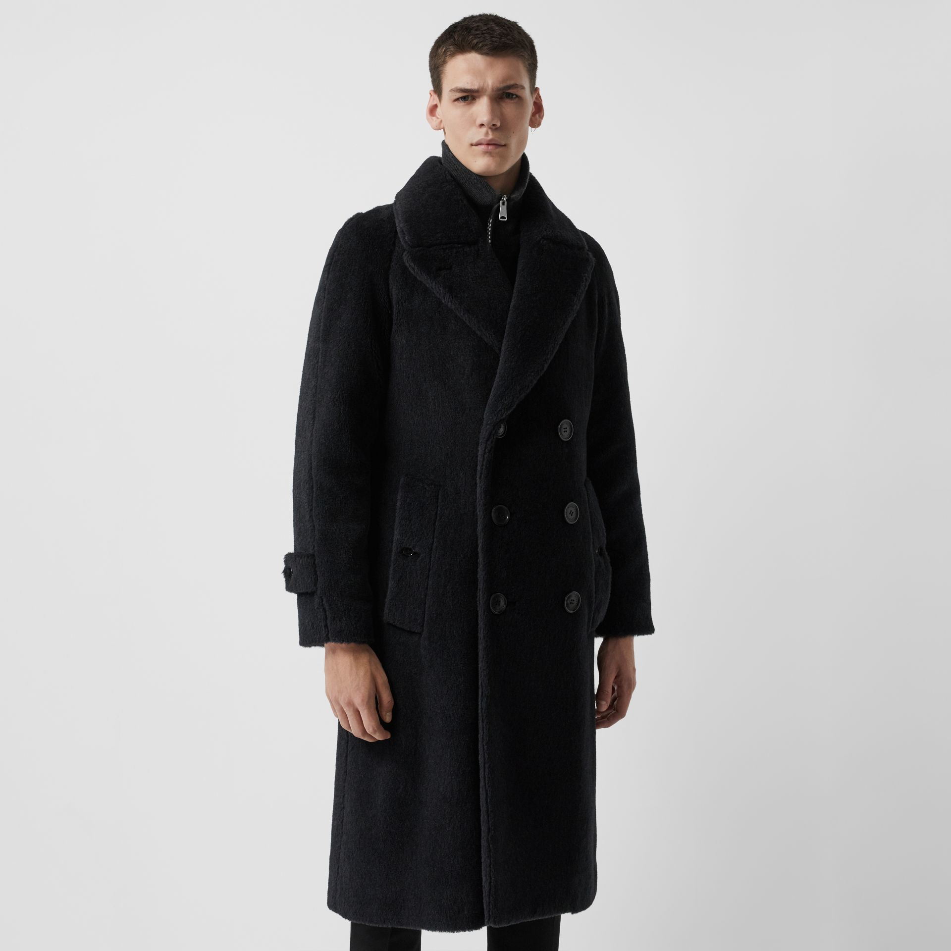 Alpaca Wool Cotton Double-breasted Coat in Charcoal - Men | Burberry Canada - gallery image 5