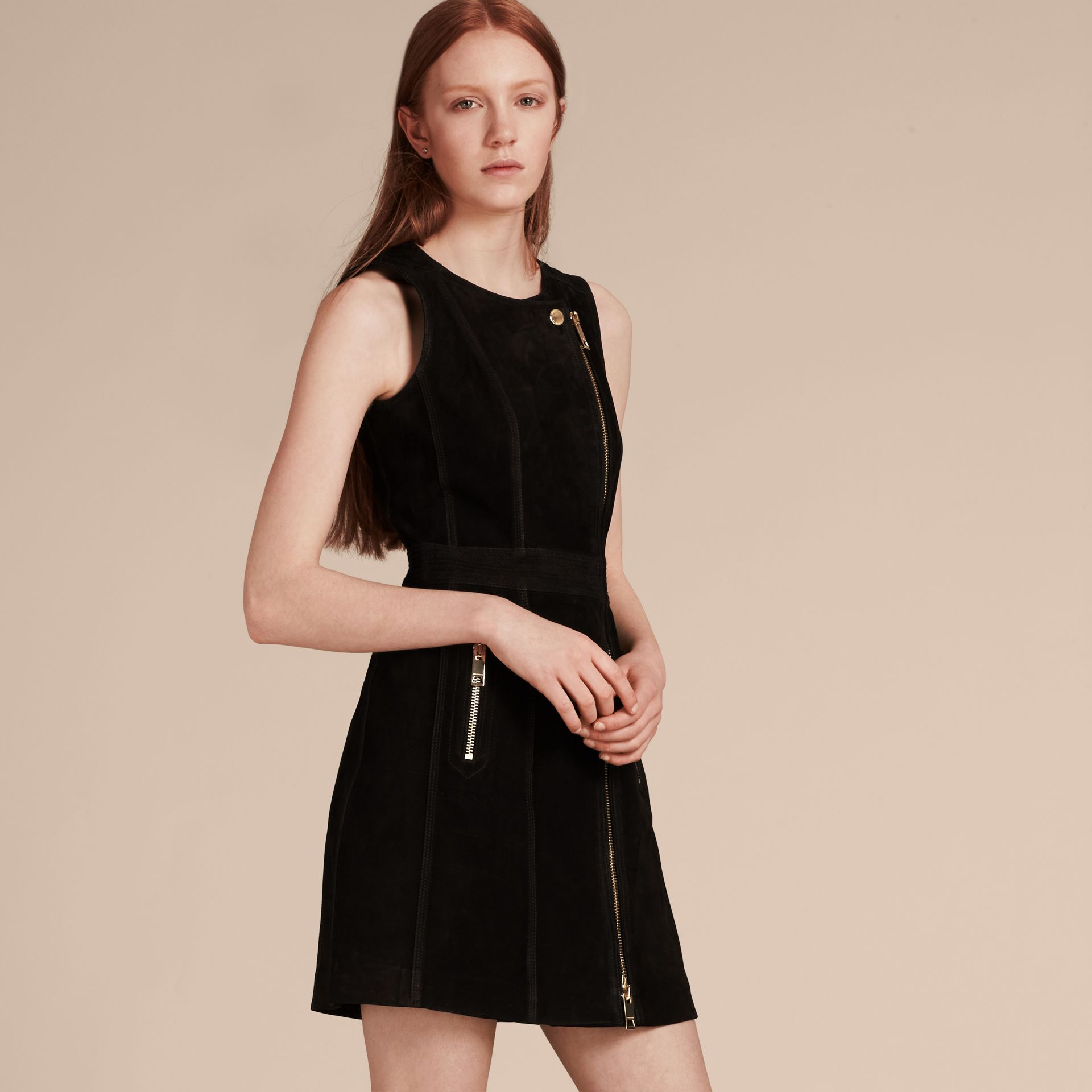 Black Nubuck Zip-front Dress - gallery image 1