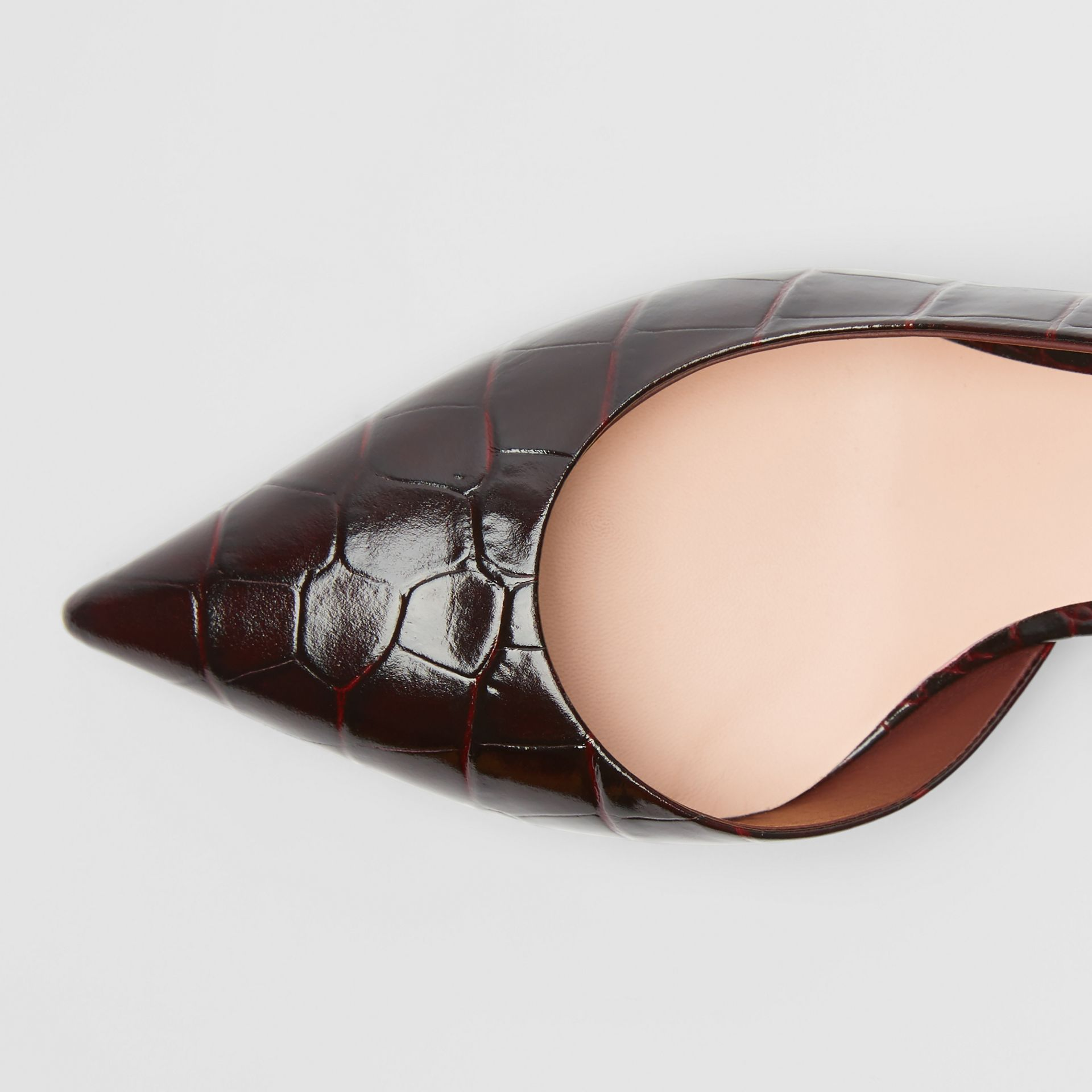 Embossed Leather Slingback Pumps in Bordeaux - Women | Burberry - gallery image 1