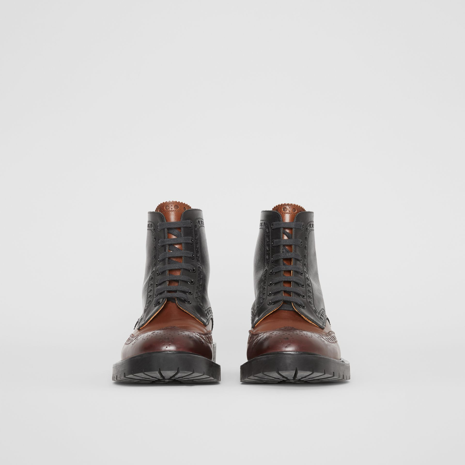 Brogue Detail Leather Boots in Black/garnet - Men | Burberry - gallery image 3