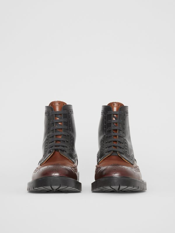 Brogue Detail Leather Boots in Black/garnet - Men | Burberry - cell image 3