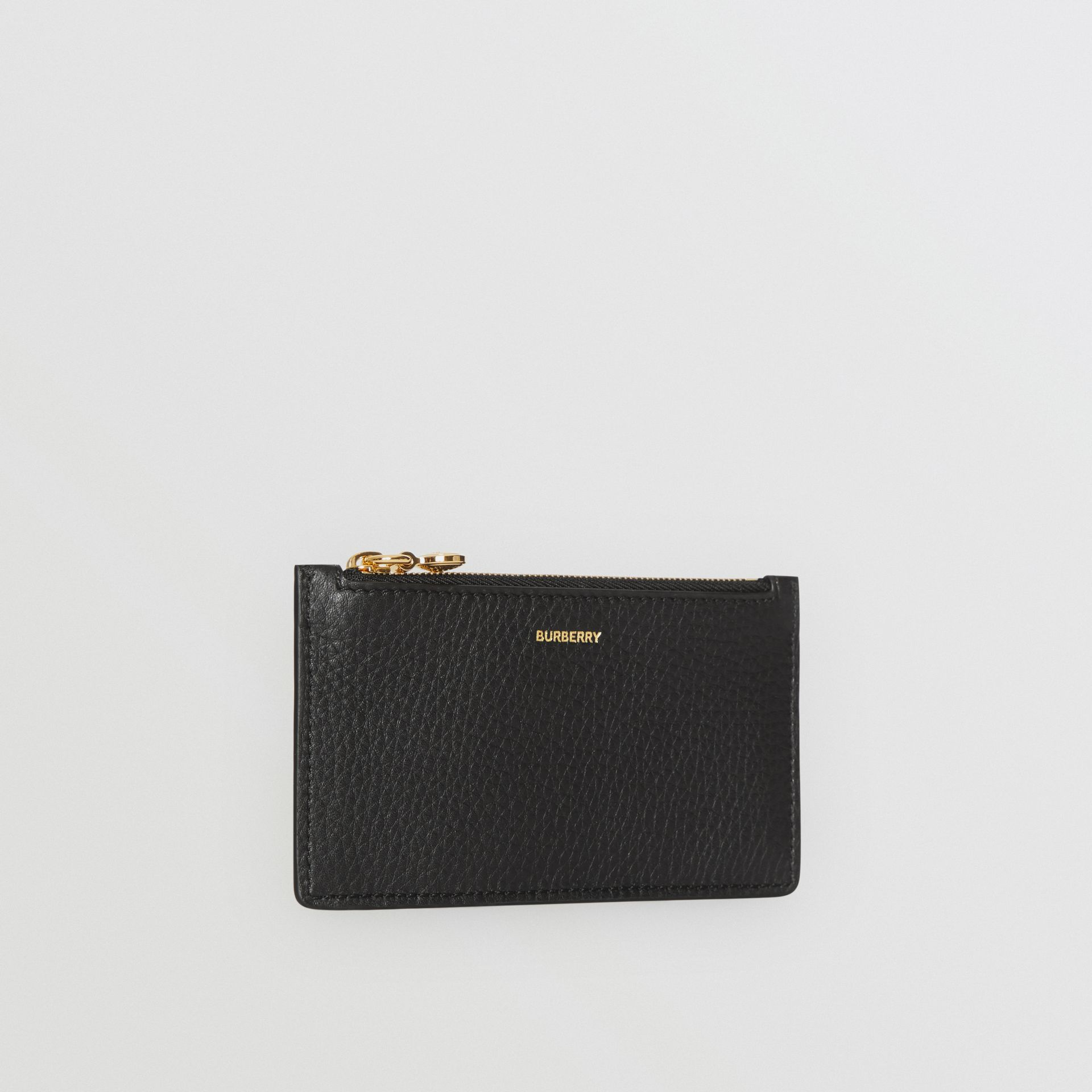 Leather Zip Card Case in Black - Women | Burberry - gallery image 3
