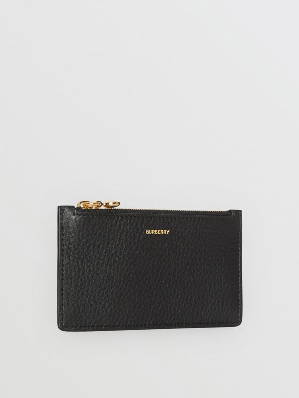 Leather Zip Card Case in Black - Women | Burberry - cell image 3