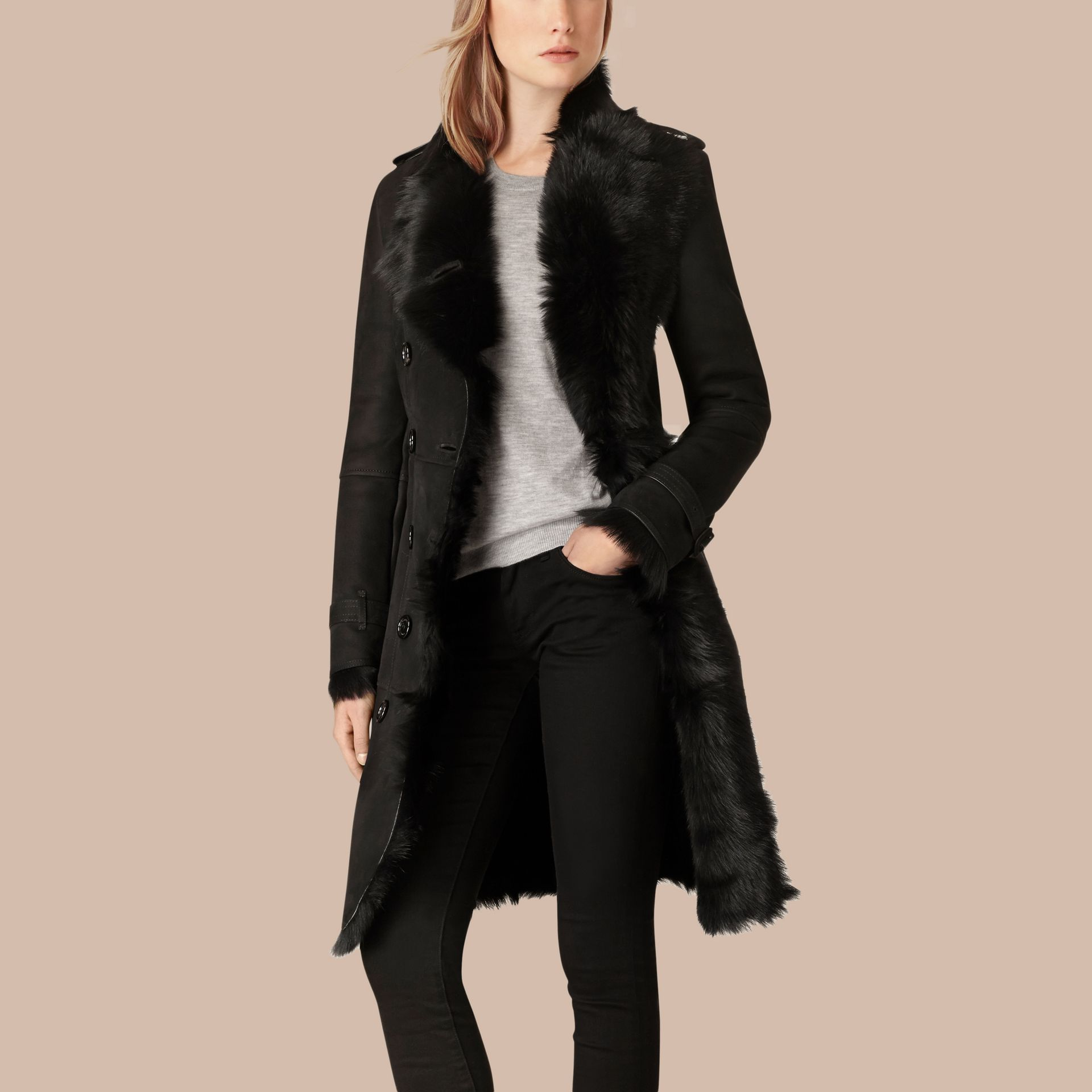 Black Shearling Trench Coat Black - gallery image 3