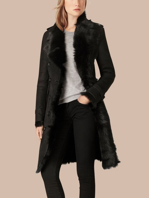 Preto Trench coat de shearling Preto - cell image 2