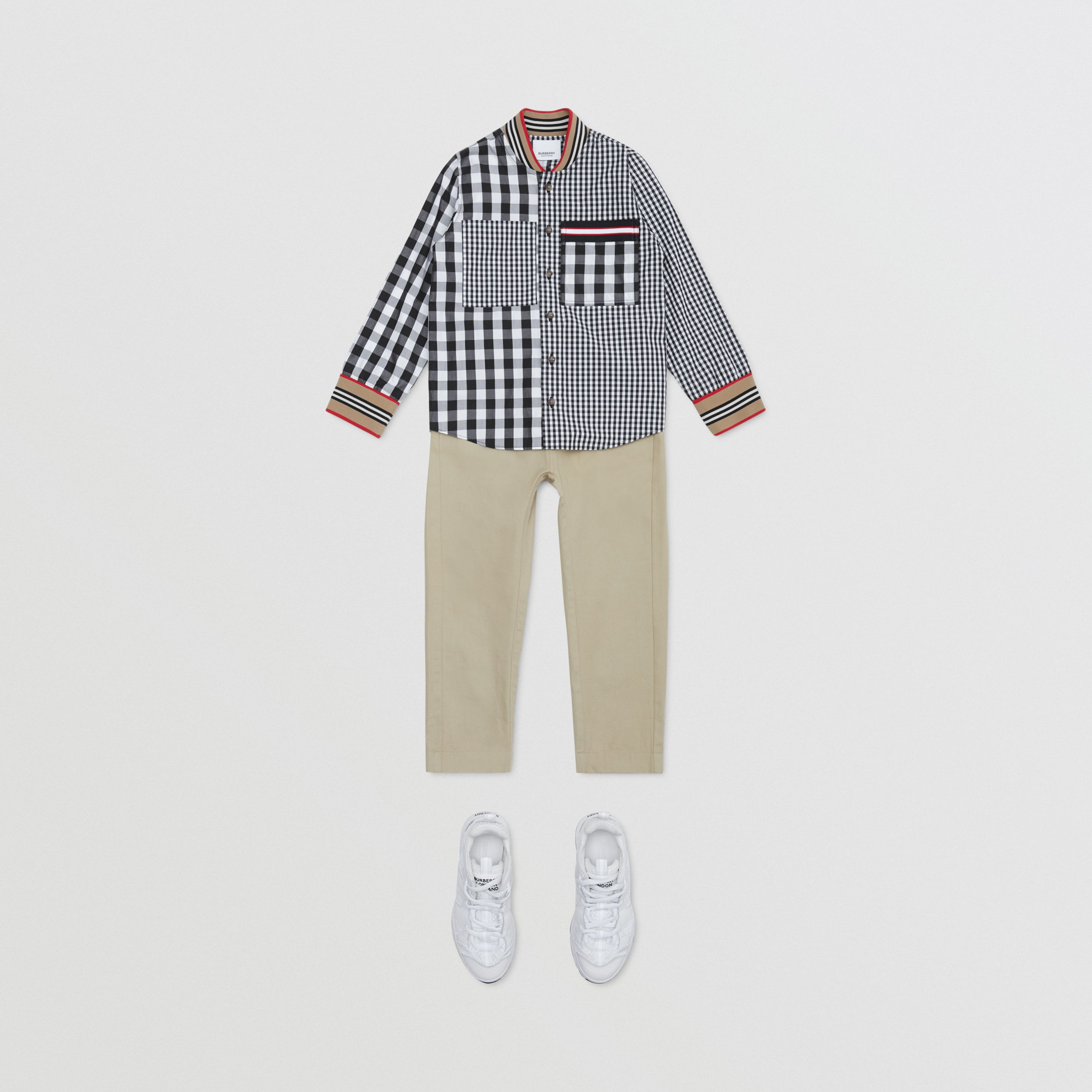 Icon Stripe Trim Gingham Cotton Shirt in Black | Burberry Hong Kong S.A.R. - 4
