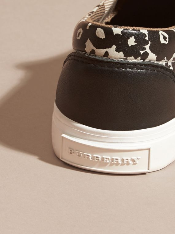 Black/white Floral Print Leather Slip-on Trainers - cell image 2