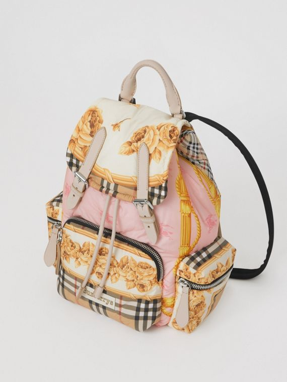The Medium Rucksack in Archive Scarf Print in Stone