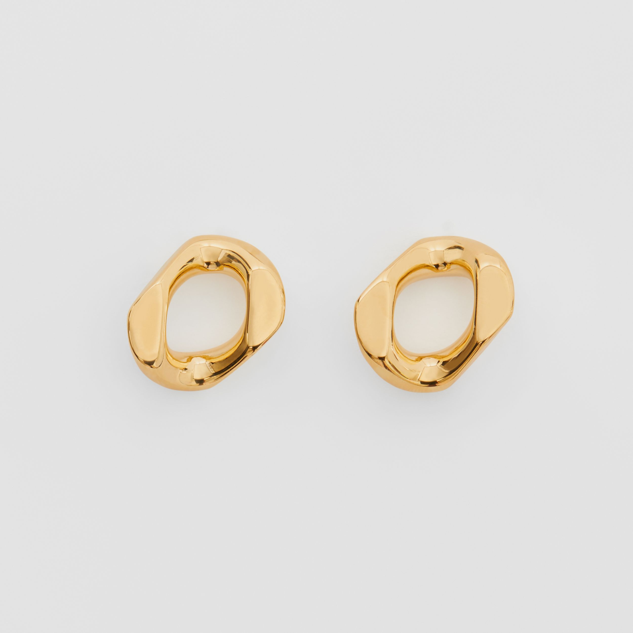 Small Gold-plated Chain-link Earrings in Light - Women | Burberry - 1