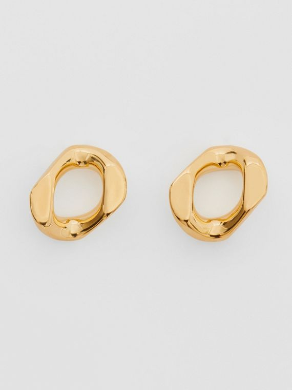 Small Gold-plated Chain Link Earrings in Light