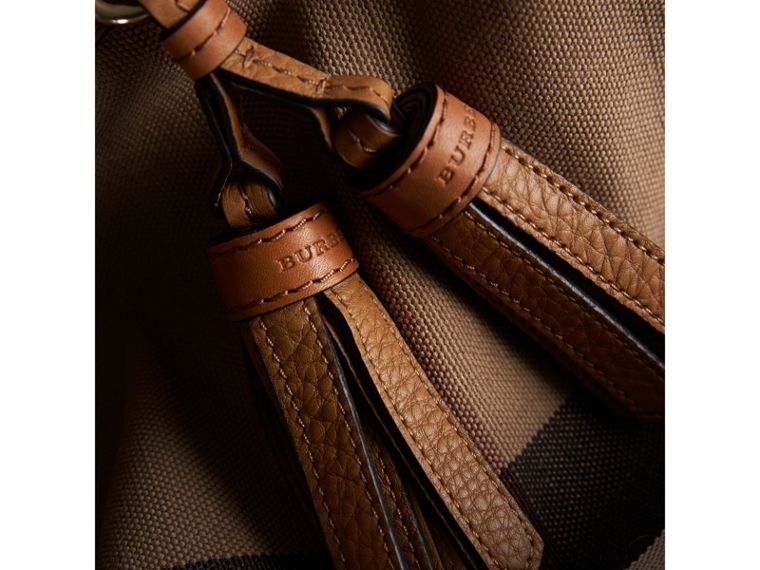 The Medium Ashby in Canvas Check and Leather in Saddle Brown - Women | Burberry - cell image 1
