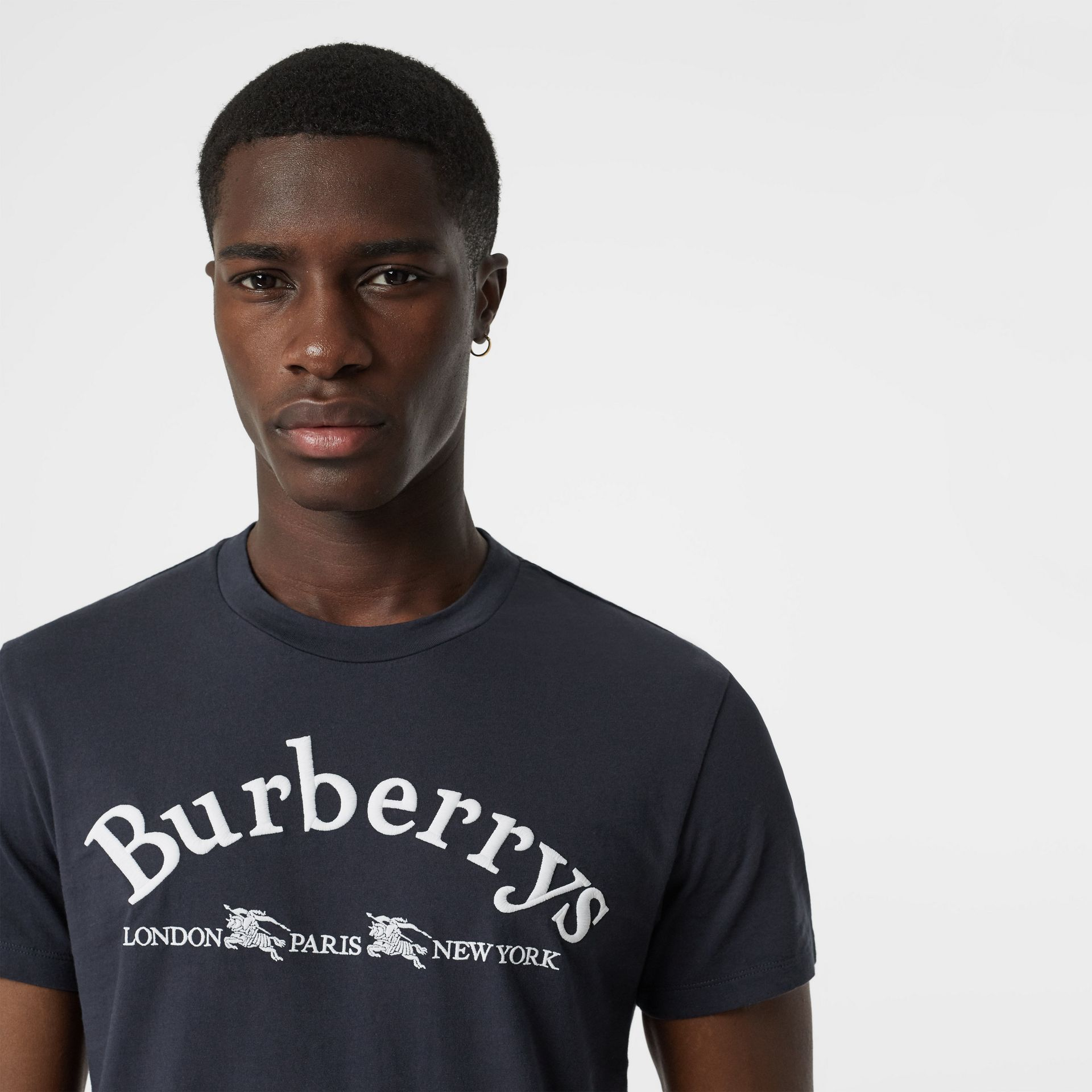 Archive Logo Cotton T-shirt in Navy - Men | Burberry - gallery image 1