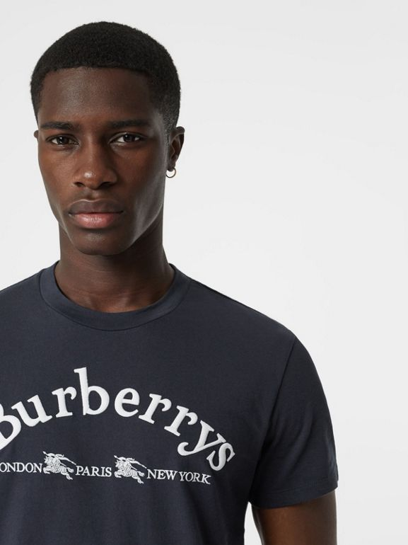 Archive Logo Cotton T-shirt in Navy - Men | Burberry - cell image 1