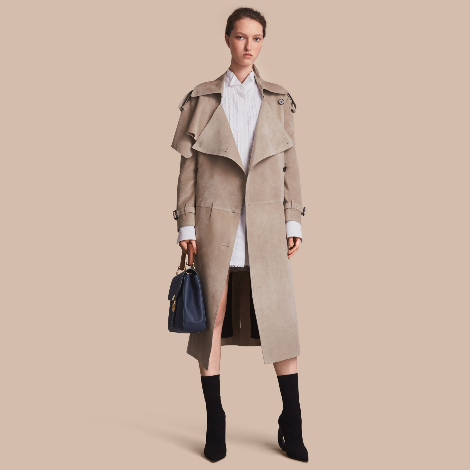 Suede Asymmetric Trench Coat - Women | Burberry - gallery image 1