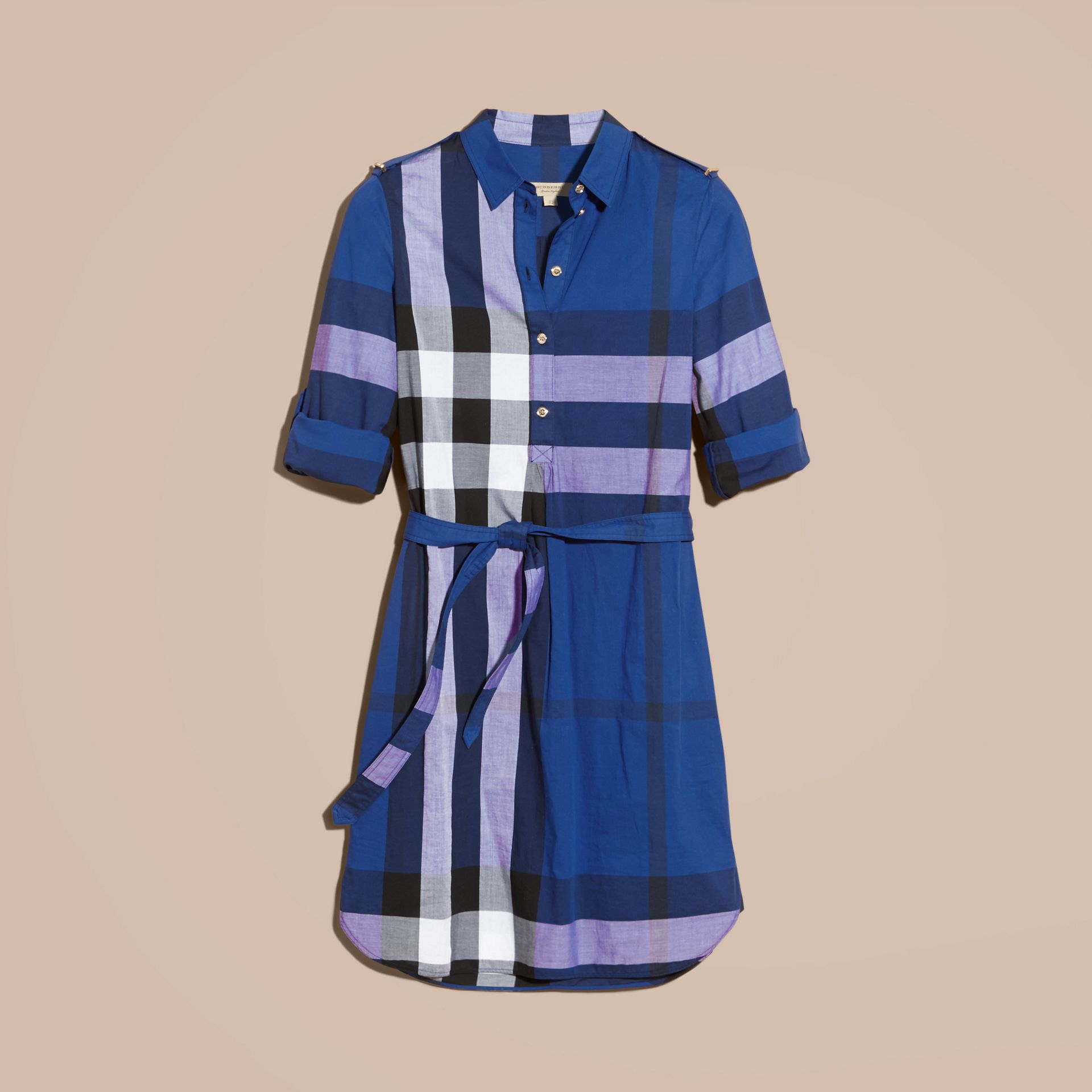 Check Cotton Shirt Dress in Brilliant Blue - gallery image 4