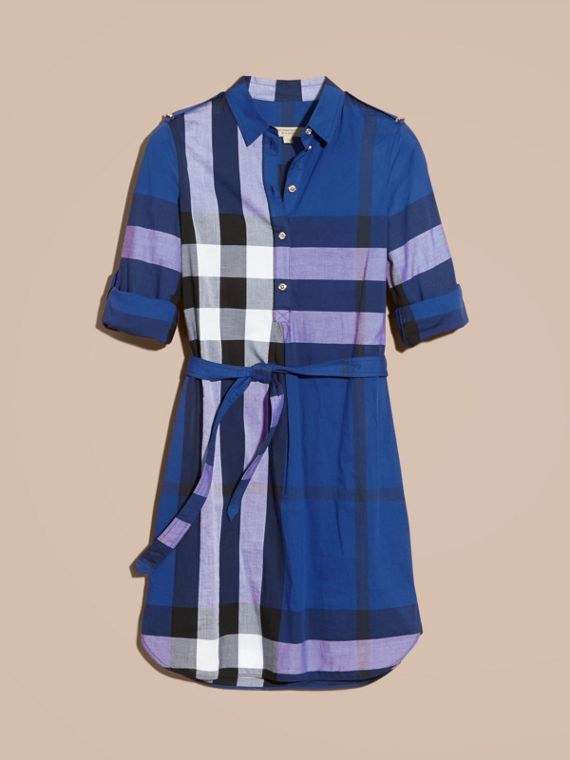 Check Cotton Shirt Dress in Brilliant Blue - cell image 3
