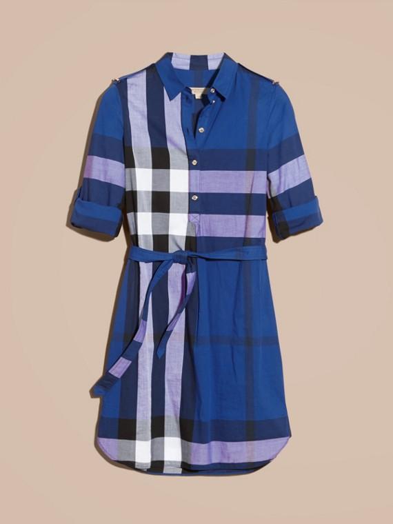 Glänzendes blau Hemdkleid aus Baumwolle im Karodesign Glänzendes Blau - cell image 3