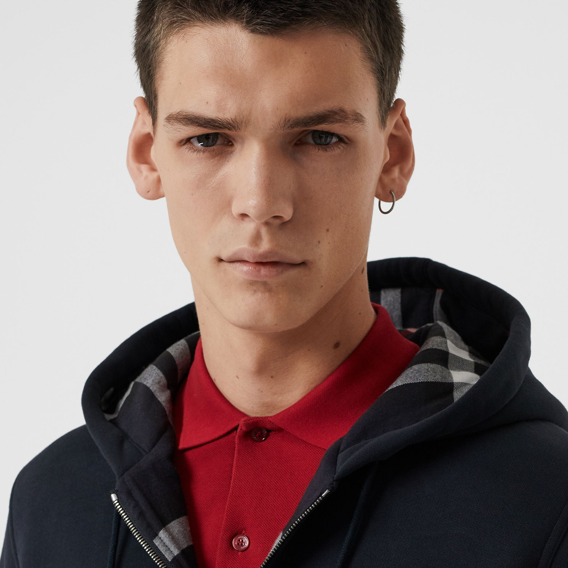 Check Detail Jersey Hooded Top in Navy - Men | Burberry Australia - gallery image 1