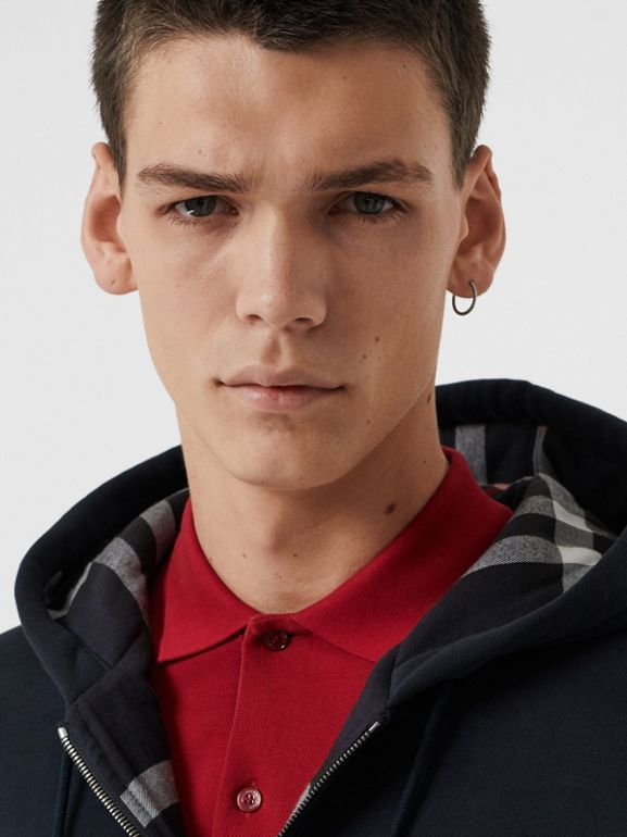 Check Detail Jersey Hooded Top in Navy - Men | Burberry United Kingdom - cell image 1