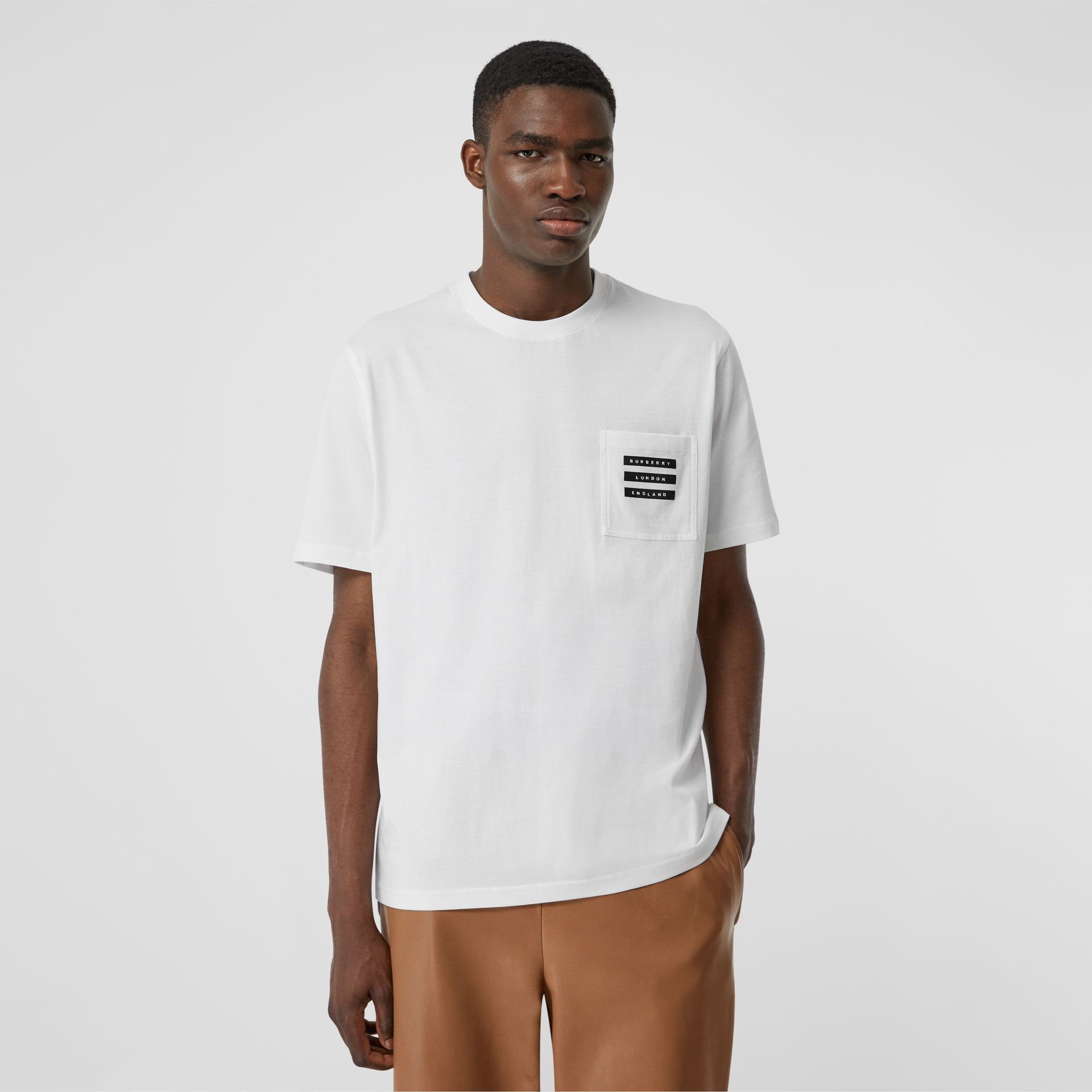 Tape Print Cotton T-shirt in White - Men | Burberry - gallery image 4