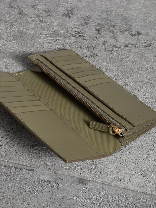 Trench Leather Continental Wallet in Slate Green - Men | Burberry - cell image 3