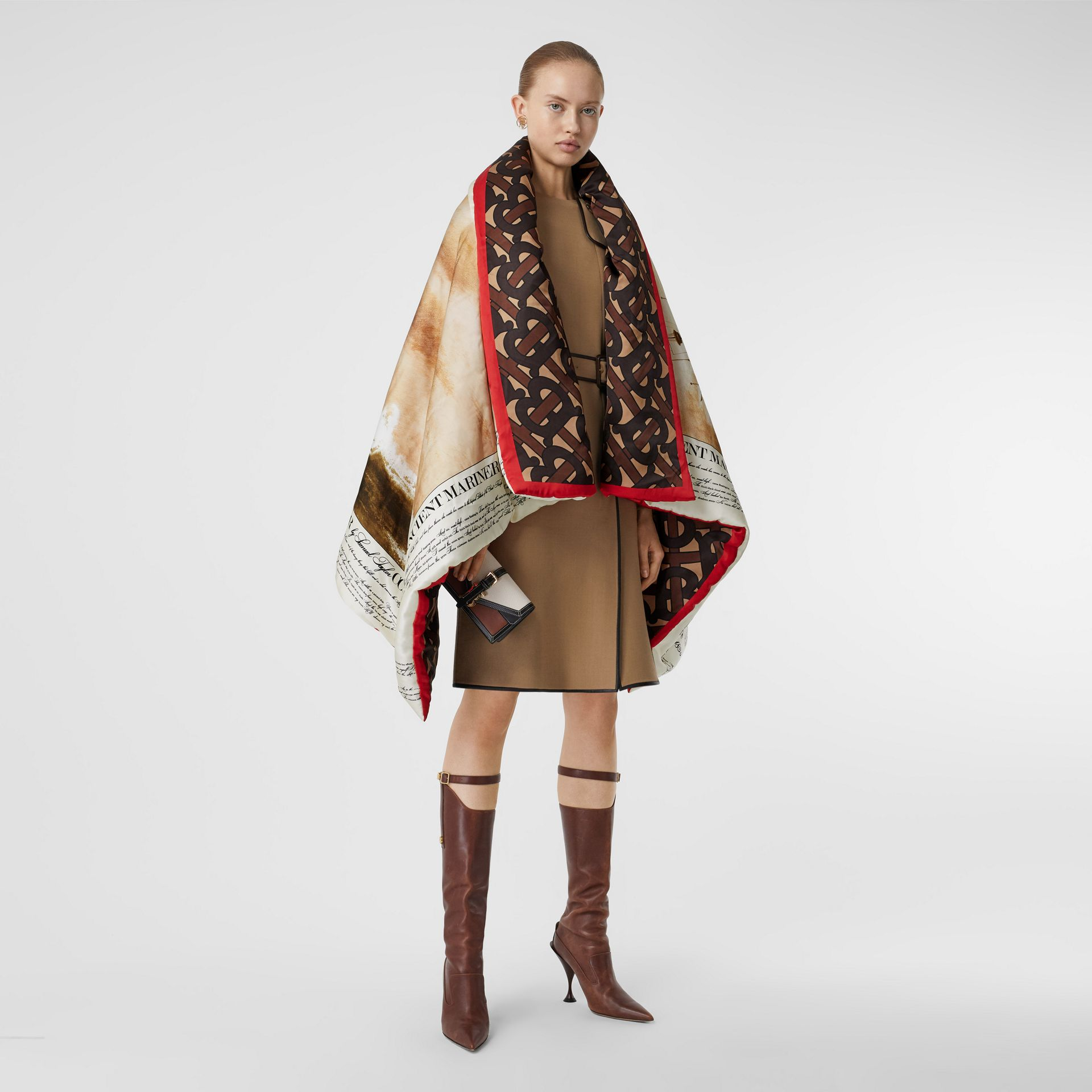 Mariner Print Silk Satin Oversized Puffer Cape in Bridle Brown - Women | Burberry - gallery image 0
