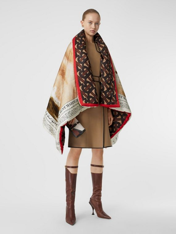 Mariner Print Silk Satin Oversized Puffer Cape in Bridle Brown