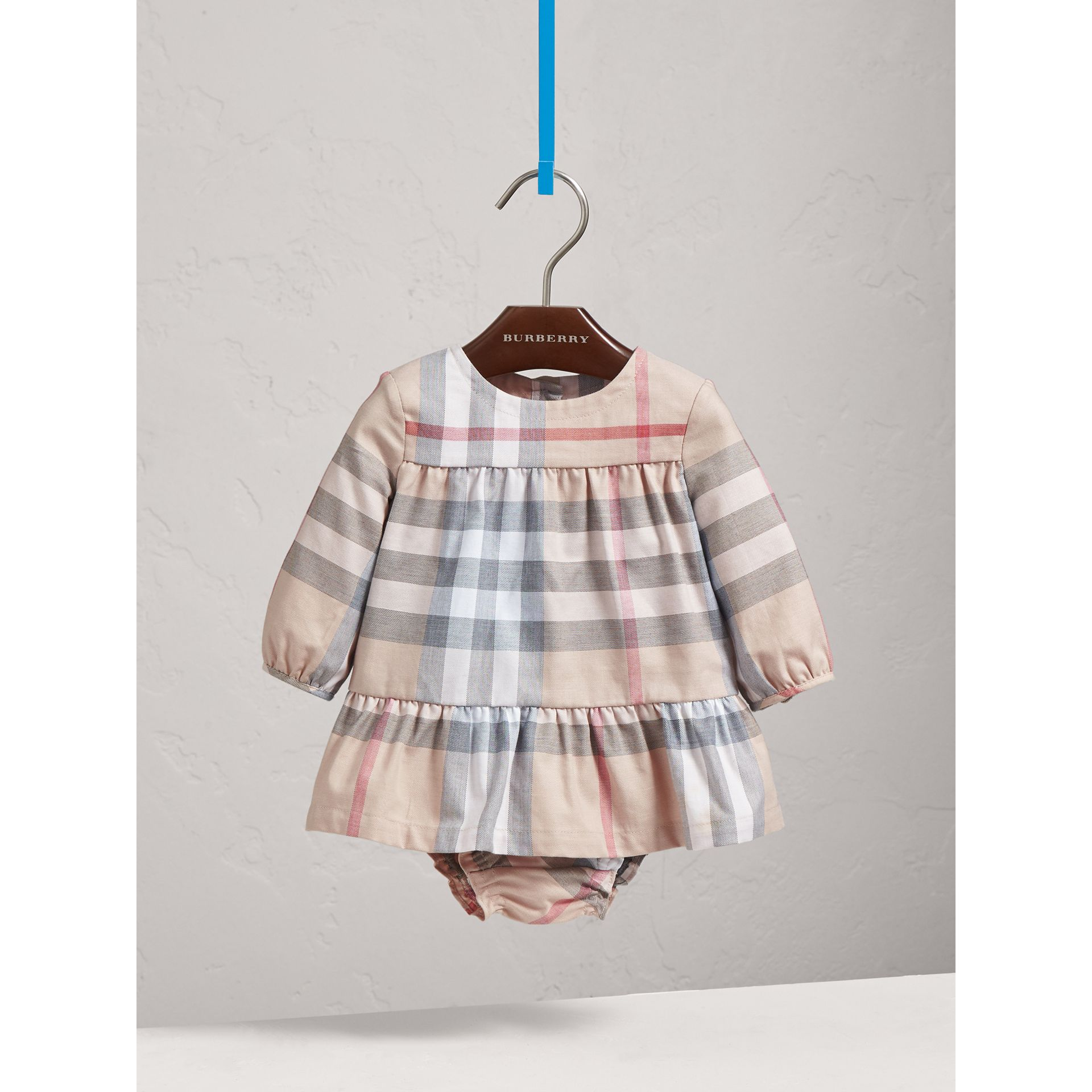 Check Cotton Tiered Dress with Bloomers in Pale Stone | Burberry United States - gallery image 0