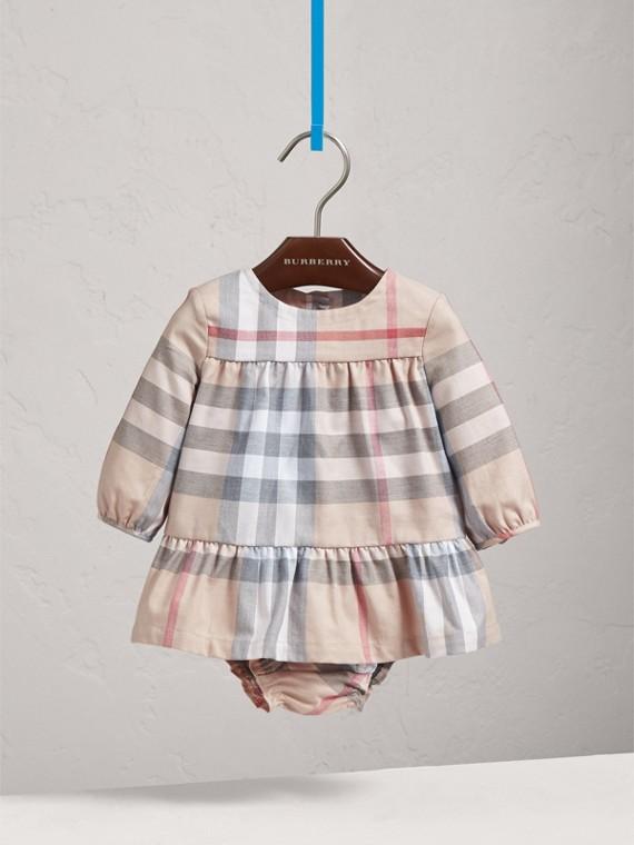 Gestuftes Baumwollkleid mit Karomuster und Höschen (Helles Steinfarben)