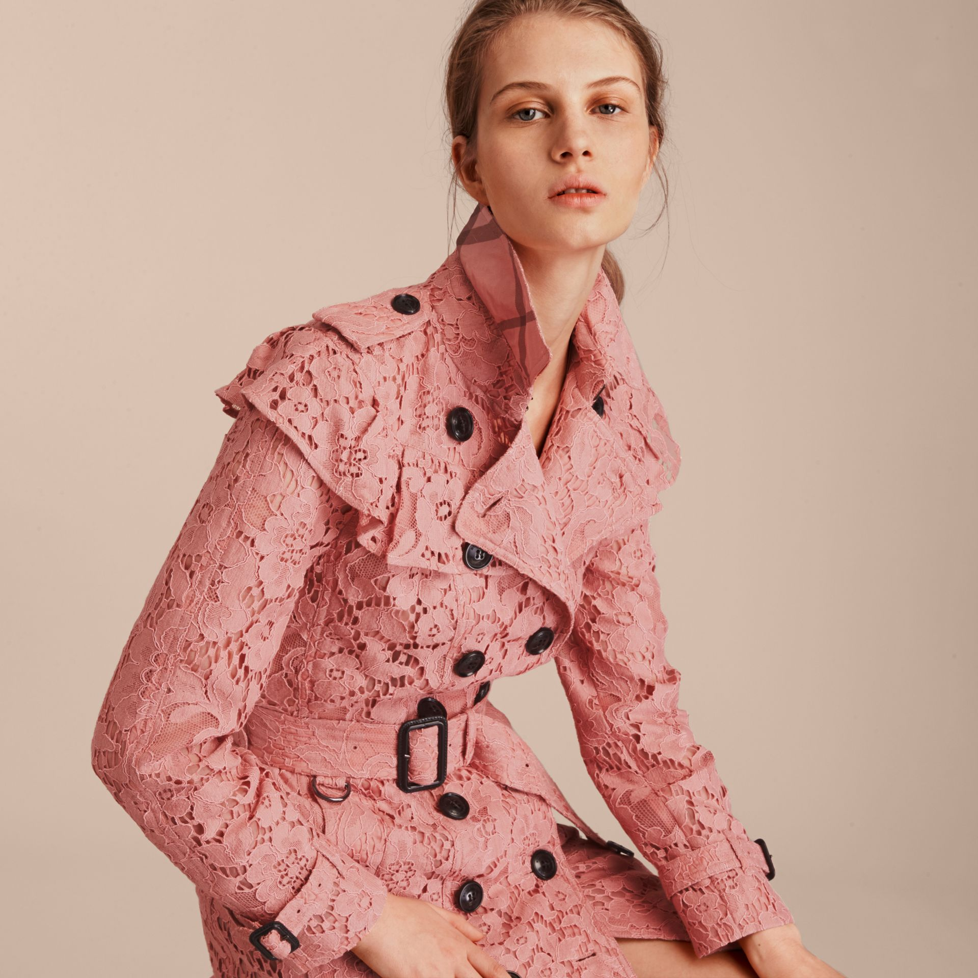 Ruffle Detail Macramé Lace Trench Coat Antique Rose - gallery image 5