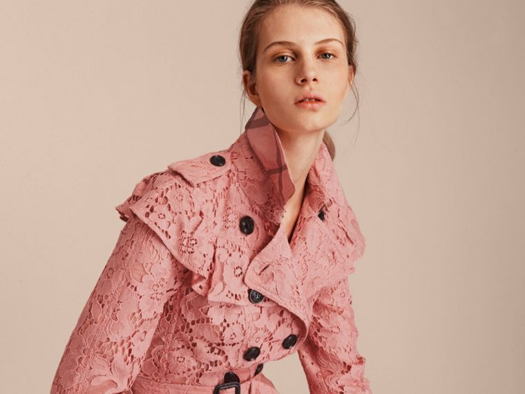 Ruffle Detail Macramé Lace Trench Coat Antique Rose - cell image 4