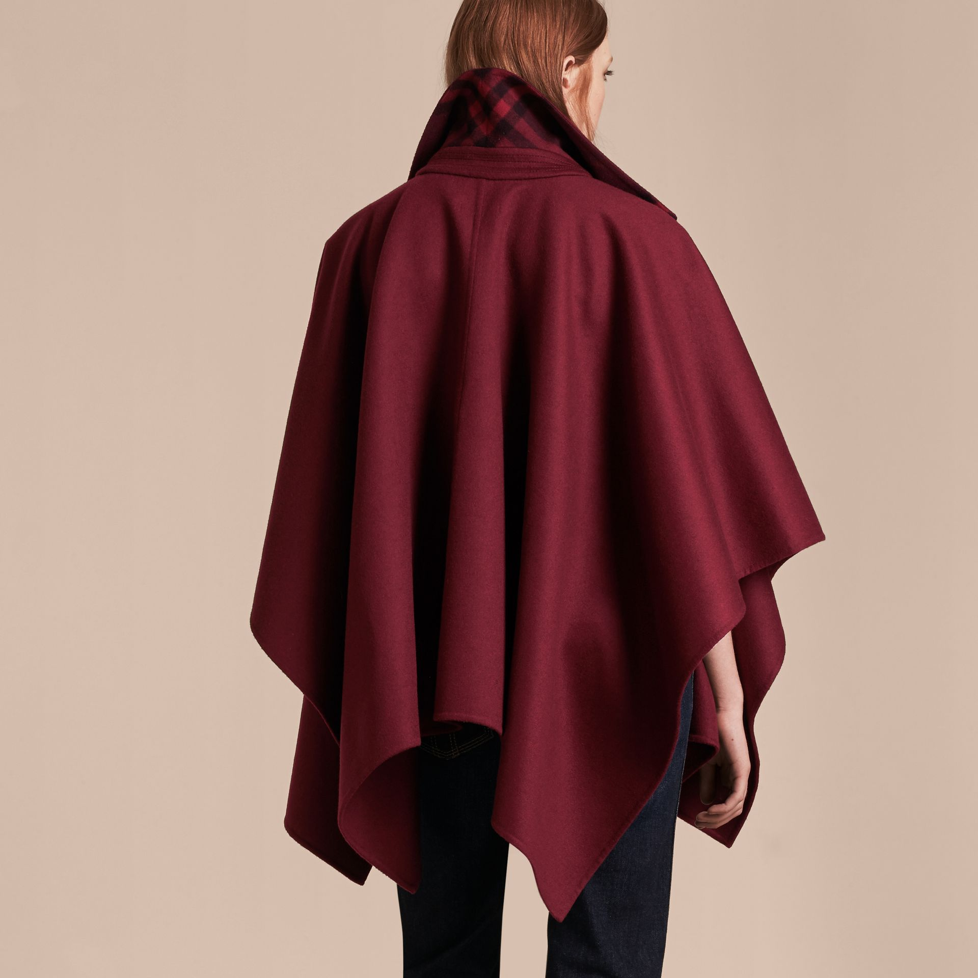 Burgundy Military Button Wool Cashmere Blend Cape Burgundy - gallery image 3