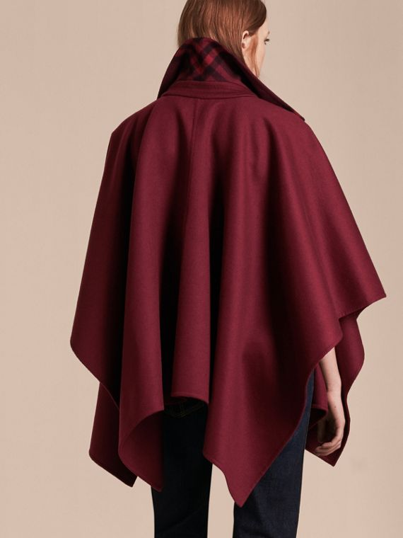 Burgundy Military Button Wool Cashmere Blend Cape Burgundy - cell image 2