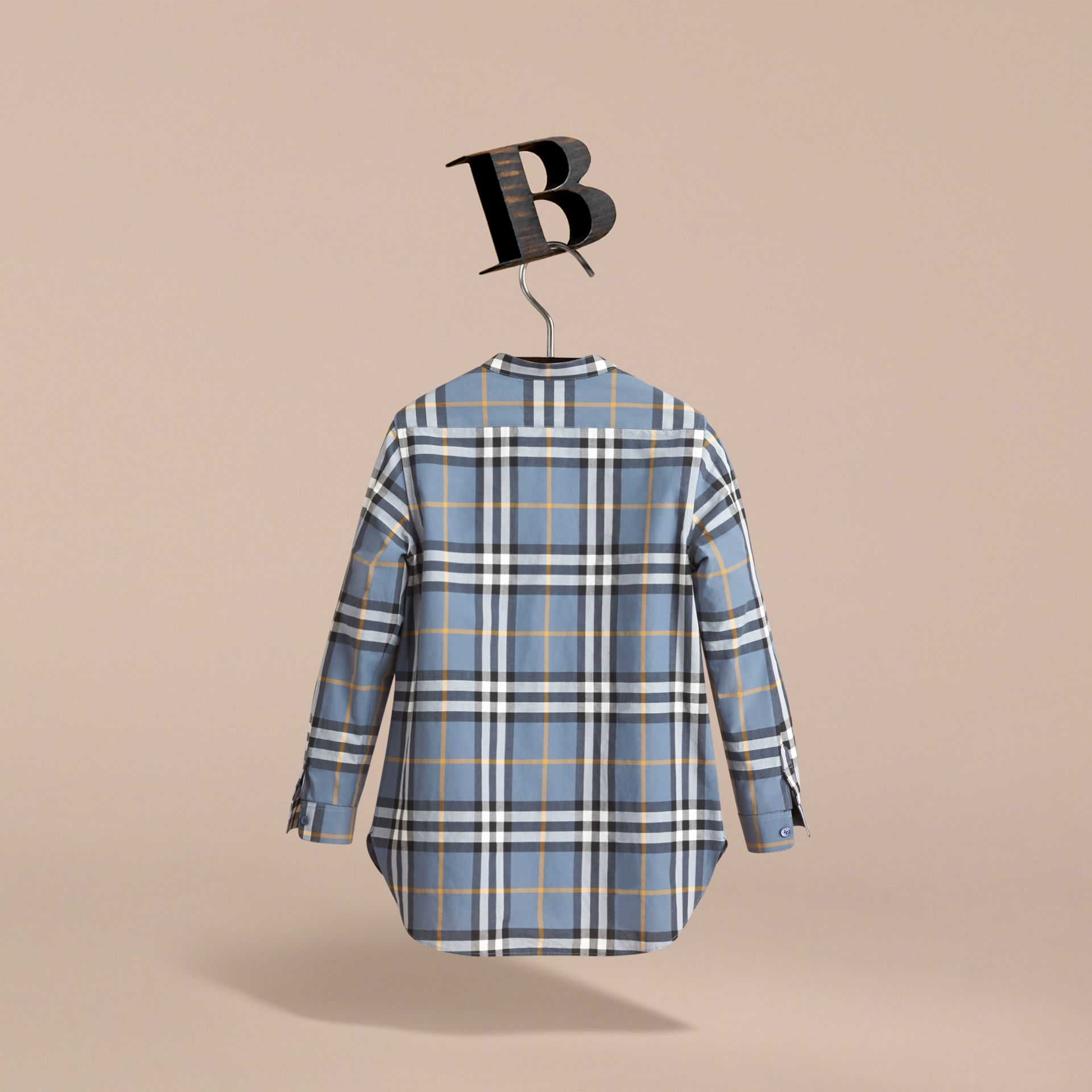 Unisex Lace Appliqué Check Cotton Shirt in Pewter Blue | Burberry - gallery image 3