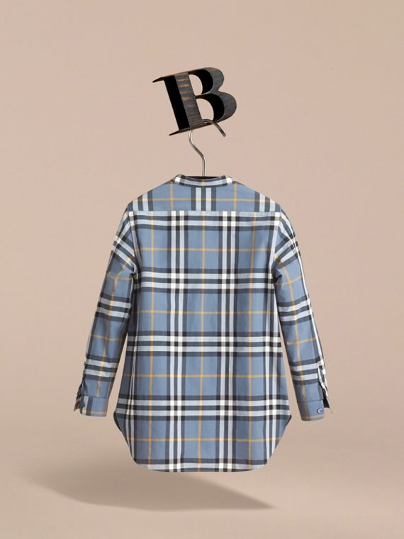 Unisex Lace Appliqué Check Cotton Shirt in Pewter Blue | Burberry - cell image 3