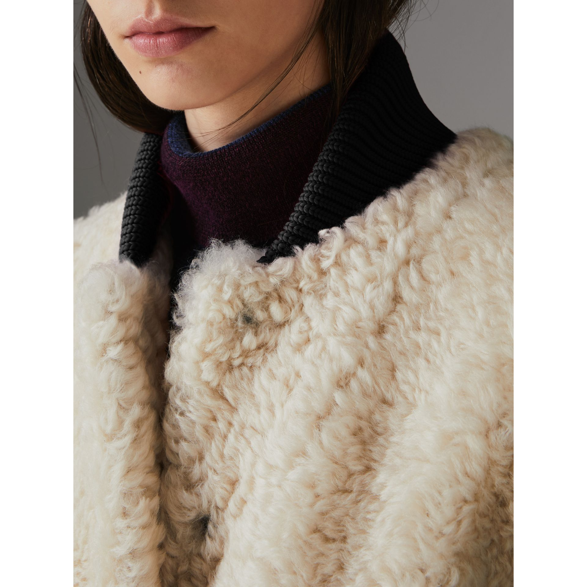 Two-tone Rib Knit Trim Shearling Gilet in Natural White - Women | Burberry - gallery image 1