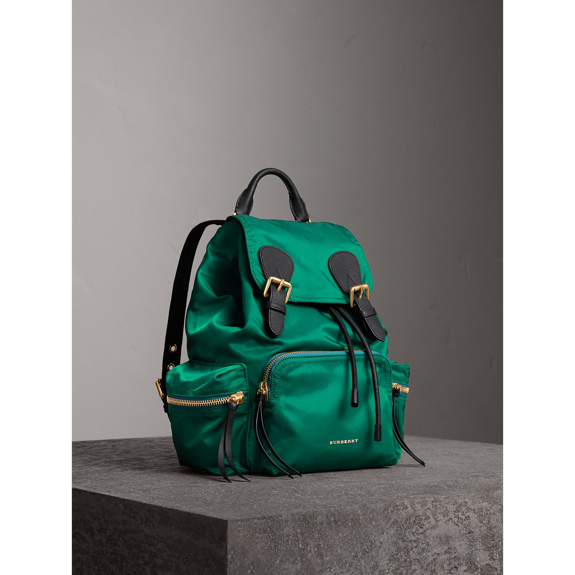 The Medium Rucksack in Technical Nylon and Leather in Pine Green - Women | Burberry - gallery image 8