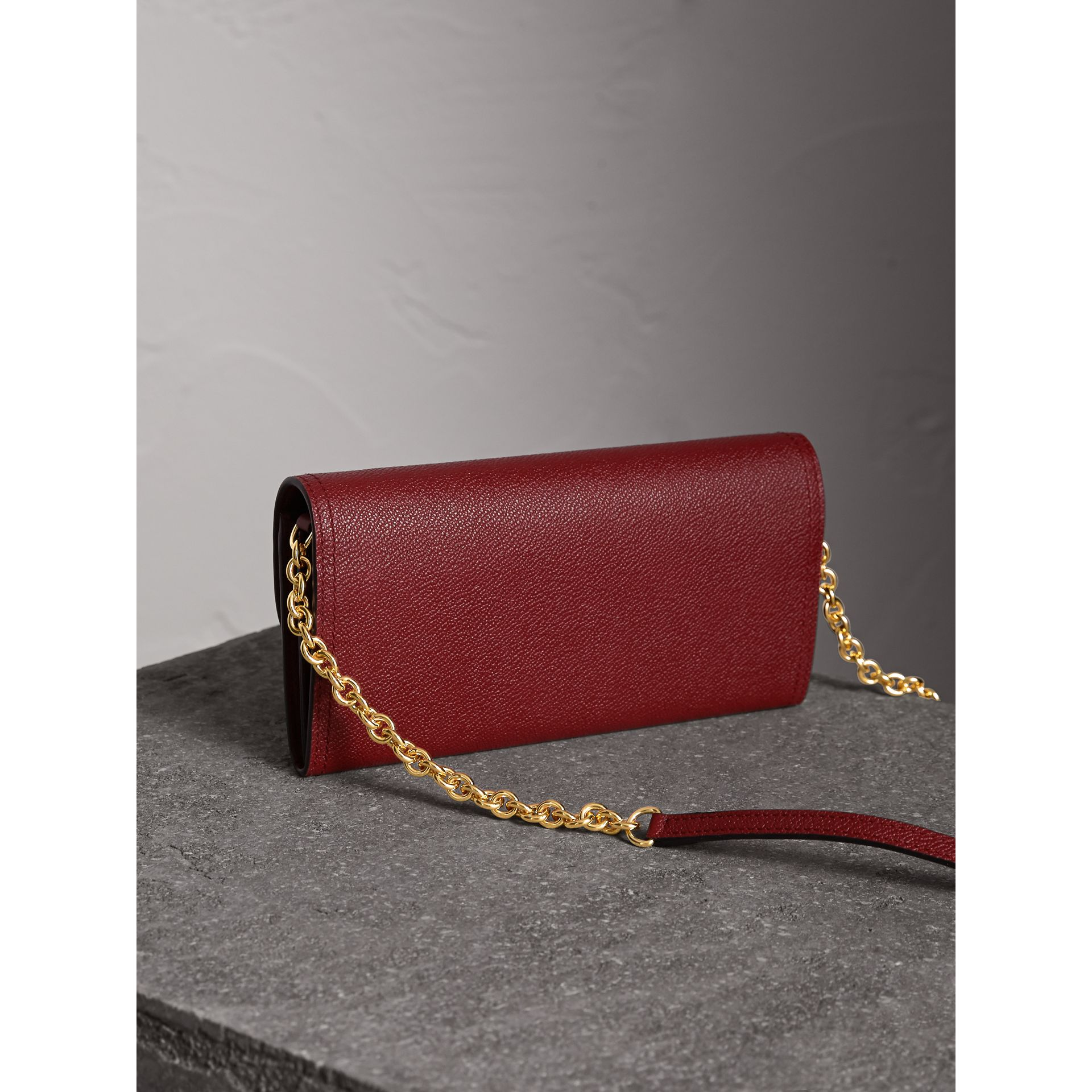 Leather Wallet with Chain in Burgundy - Women | Burberry - gallery image 5