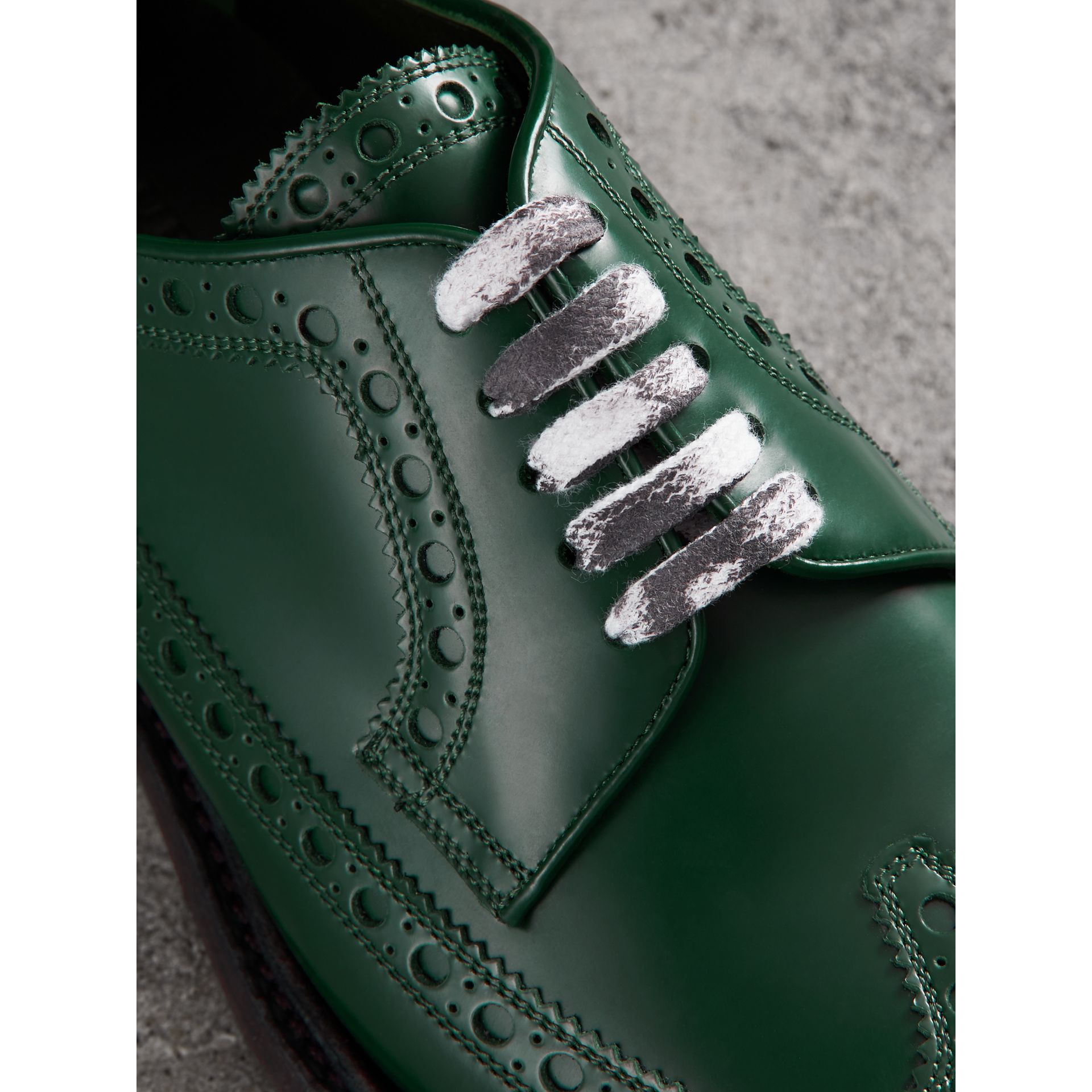 Leather Brogues with Painted Laces in Bottle Green - Men | Burberry - gallery image 1