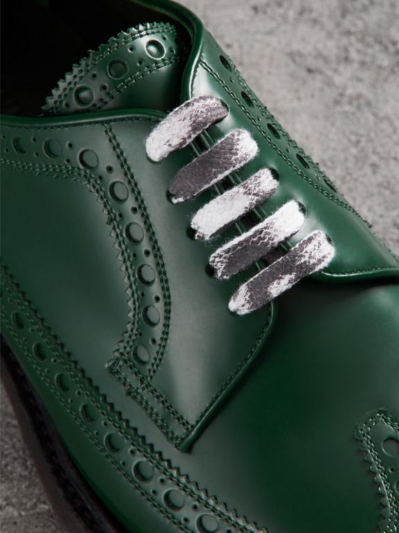 Leather Brogues with Painted Laces in Bottle Green - Men | Burberry United Kingdom - cell image 1