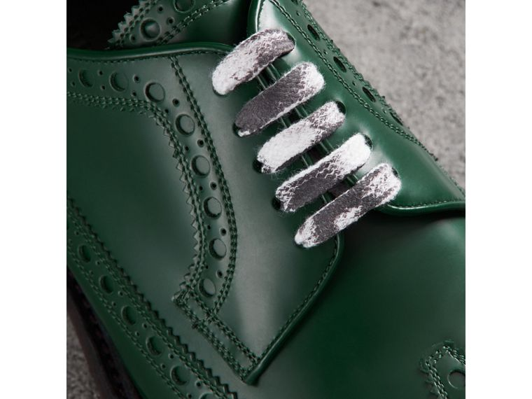 Leather Brogues with Painted Laces in Bottle Green - Men | Burberry - cell image 1