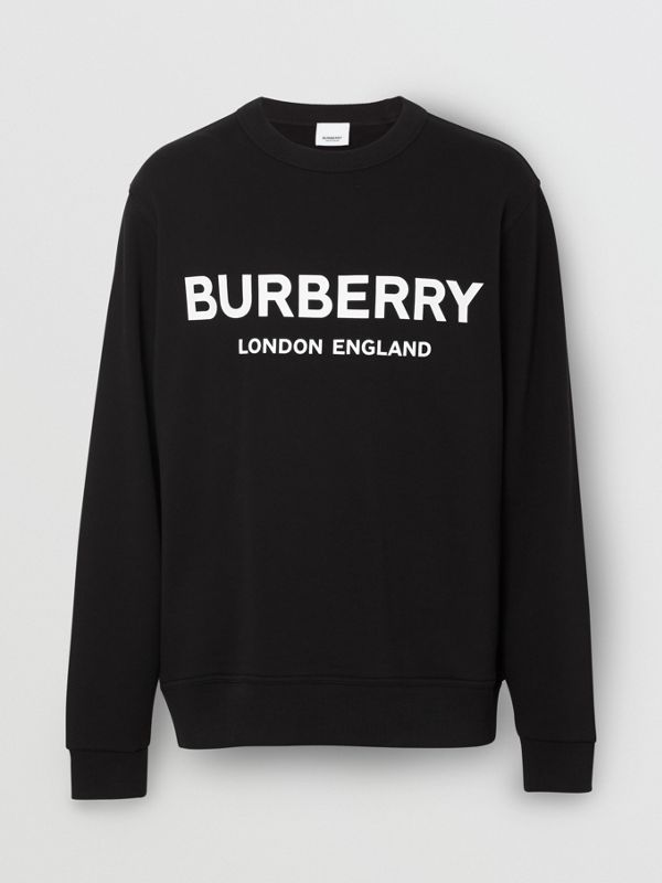 Logo Print Cotton Sweatshirt in Black - Men | Burberry Australia - cell image 2
